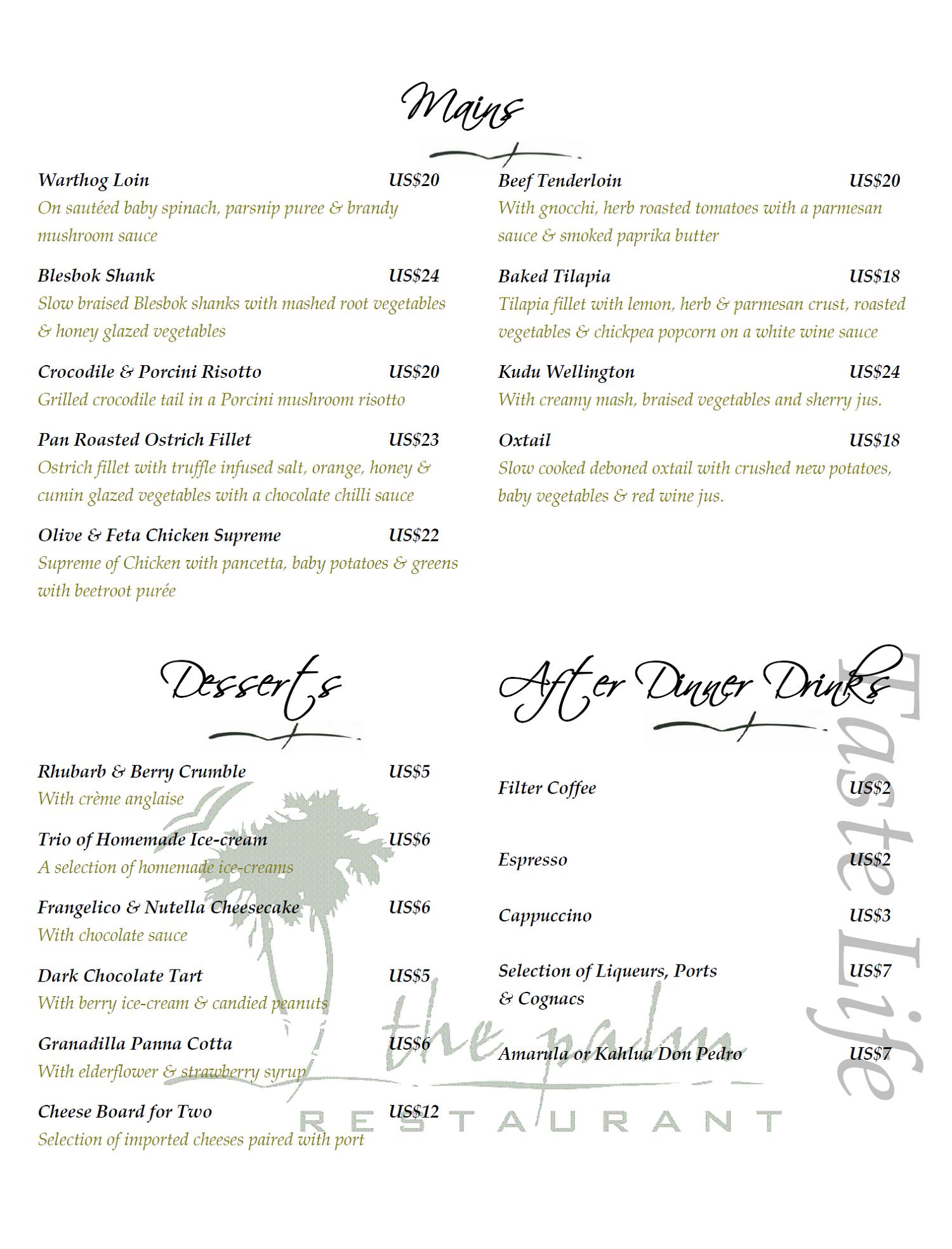 Victoria Falls Restaurants