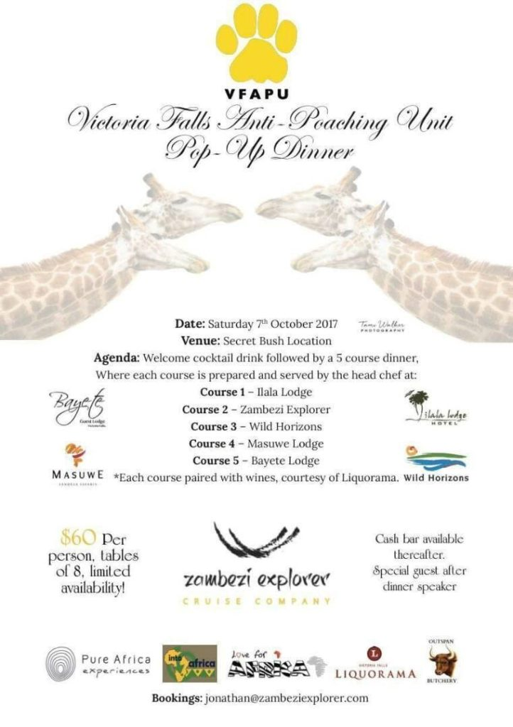 Victoria Falls Anti-Poaching Unit Pop-Up Dinner