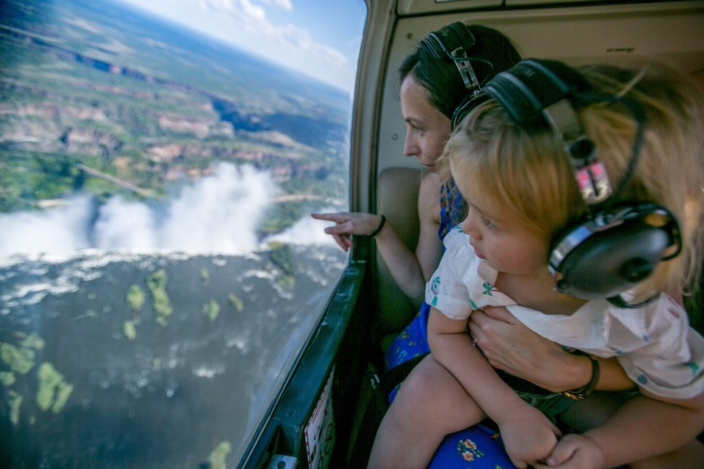 Helicopter flight over the Vic Falls
