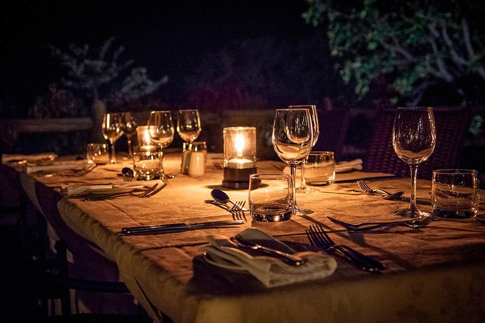 Candlelit Dinner Setup Palm Restaurant